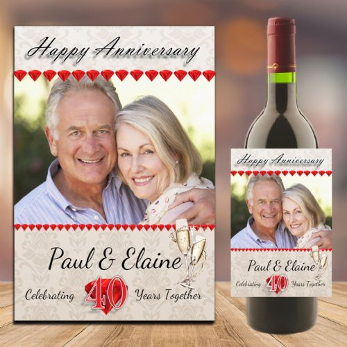 Personalised Ruby 40th Wedding Anniversary PHOTO Wine / Champagne Bottle Label N94